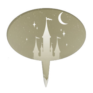 Silver Dreamy Castle In The Clouds Starry Moon Sky Cake Toppers