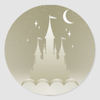 Silver Dreamy Castle In The Clouds Starry Moon Sky Classic Round Sticker