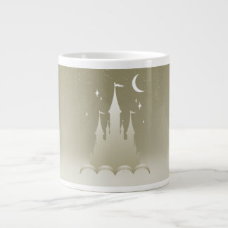 Silver Dreamy Castle In The Clouds Starry Moon Sky Giant Coffee Mug