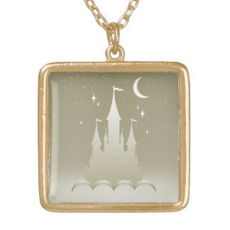 Silver Dreamy Castle In The Clouds Starry Moon Sky Gold Plated Necklace