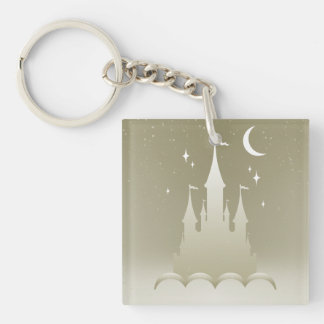 Silver Dreamy Castle In The Clouds Starry Moon Sky Keychain