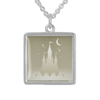 Silver Dreamy Castle In The Clouds Starry Moon Sky Square Pendant Necklace