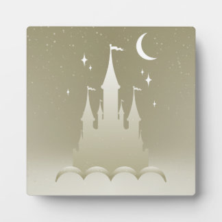 Silver Dreamy Castle In The Clouds Starry Moon Sky Display Plaques