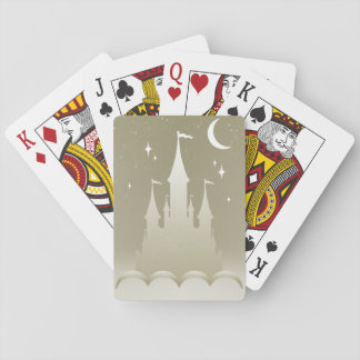 Silver Dreamy Castle In The Clouds Starry Moon Sky Playing Cards
