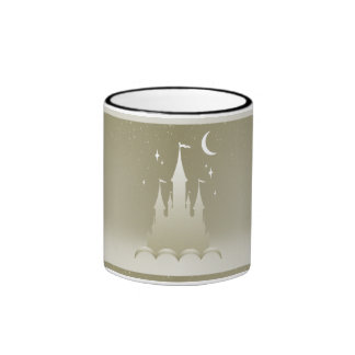 Silver Dreamy Castle In The Clouds Starry Moon Sky Ringer Mug