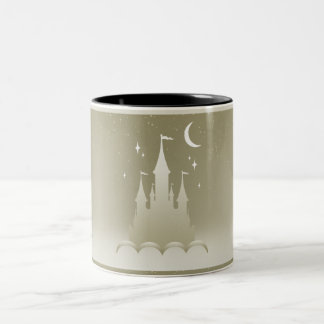 Silver Dreamy Castle In The Clouds Starry Moon Sky Two-Tone Coffee Mug