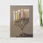 "Silver Driedel Chanukah Photo Card<br><div class=""desc"">Send Chanukah greetings with a elegant silver menorah with lit candles.</div>"