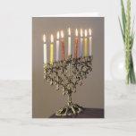 "Silver Driedel Chanukah Photo Card<br><div class=""desc"">Send Chanukah greetings with a elegant silver menorah with lit candles.</div>"