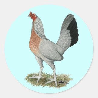 Silver Duckwing Game Hen Classic Round Sticker