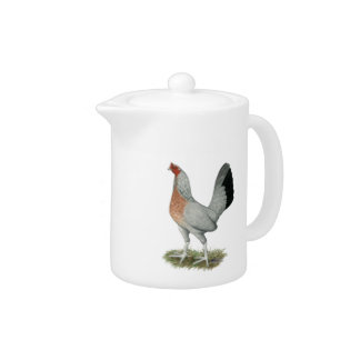 Silver Duckwing Game Hen Teapot