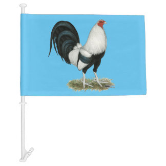 Silver Duckwing Gamecock Car Flag
