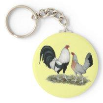 Silver Duckwing Gamefowl Keychain