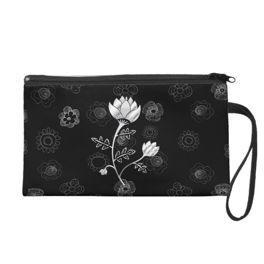 Silver Dust gray and black oriental style flowers Wristlet Purse