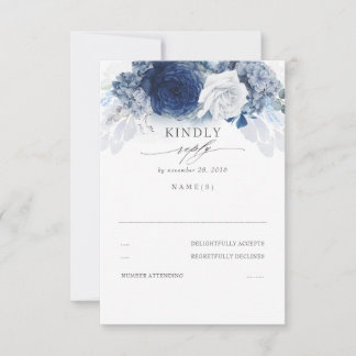 Silver Dusty and Navy Blue Wedding RSVP