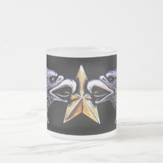 Silver Eagles with Gold Star Frosted Glass Mug
