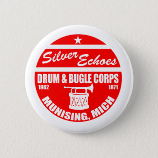 Silver Echo Drum and Bugle Pinback Button