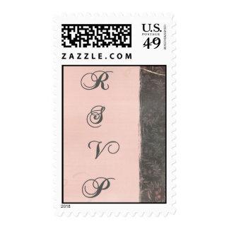 Silver-Edged Pink RSVP Stamp (Medium)