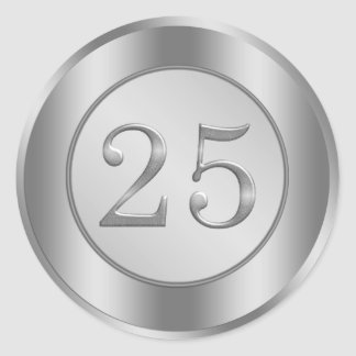 Silver effect 25th Wedding Anniversary Sticker Stickers
