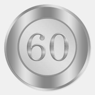 Silver effect 60th Wedding Anniversary Sticker