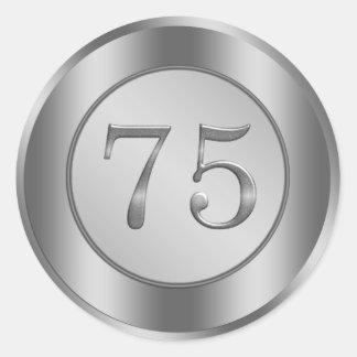 Silver effect 75th Wedding Anniversary Sticker