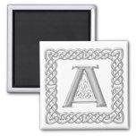 Silver Effect Celtic Knot Monogram Letter A Refrigerator Magnet