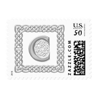 Silver Effect Celtic Knot Monogram Letter C Postage