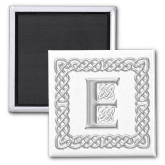 Silver Effect Celtic Knot Monogram Letter E Magnet