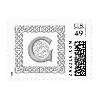 Silver Effect Celtic Knot Monogram Letter G Postage