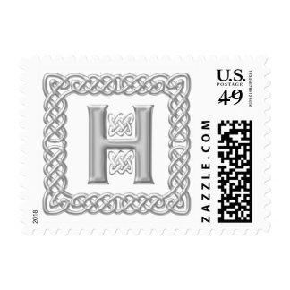 Silver Effect Celtic Knot Monogram Letter H Postage
