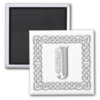 Silver Effect Celtic Knot Monogram Letter J Magnet