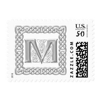 Silver Effect Celtic Knot Monogram Letter M Postage