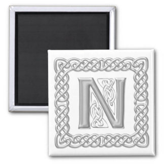 Silver Effect Celtic Knot Monogram Letter N Magnet
