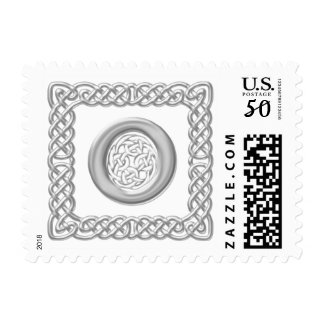 Silver Effect Celtic Knot Monogram Letter O Postage