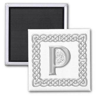 Silver Effect Celtic Knot Monogram Letter P Magnet