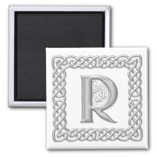 Silver Effect Celtic Knot Monogram Letter R Magnet