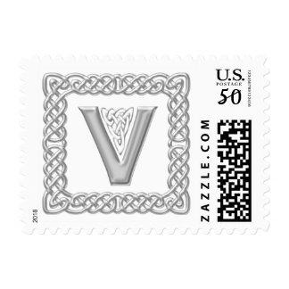 Silver Effect Celtic Knot Monogram Letter V Postage