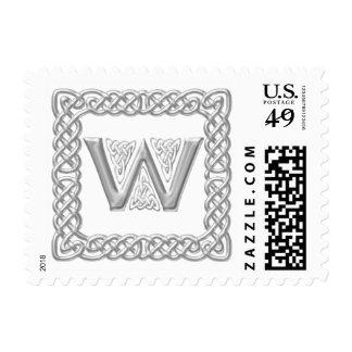 Silver Effect Celtic Knot Monogram Letter W Postage
