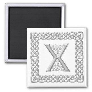Silver Effect Celtic Knot Monogram Letter X Magnet