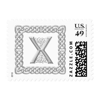 Silver Effect Celtic Knot Monogram Letter X Postage
