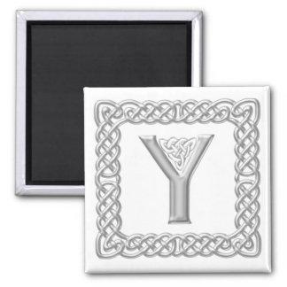 Silver Effect Celtic Knot Monogram Letter Y Magnet