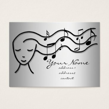 Professional Business silver effect music girl business card