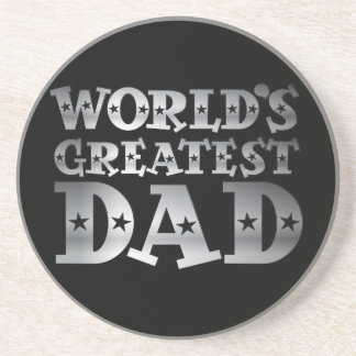 Silver Effect Worlds Greatest Dad Sandstone Coaster