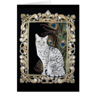 Silver Egyptian Mau Greeting Cards