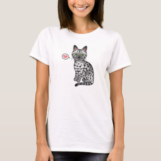 Silver Egyptian Mau Cat Illustration T-Shirt