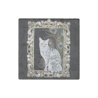Silver Egyptian Mau Stone Magnet