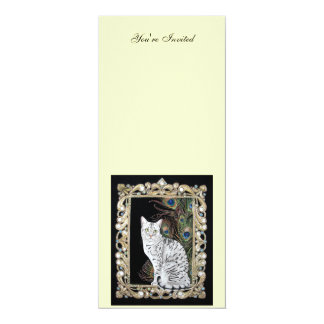 Silver Egyptian Mau 4x9.25 Paper Invitation Card