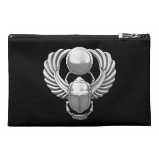 Silver Egyptian Scarab Travel Accessories Bag