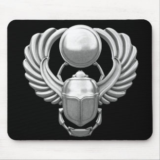 Silver Egyptian Scarab Mouse Pad