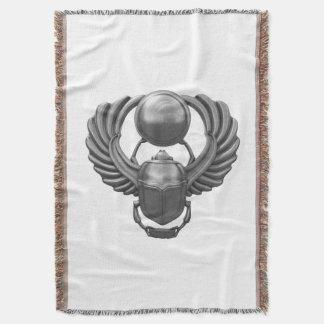 Silver Egyptian Scarab Throw Blanket
