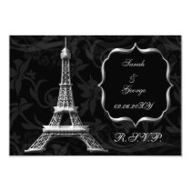 silver Eiffel tower french  rsvp standard 3.5 x 5 Card